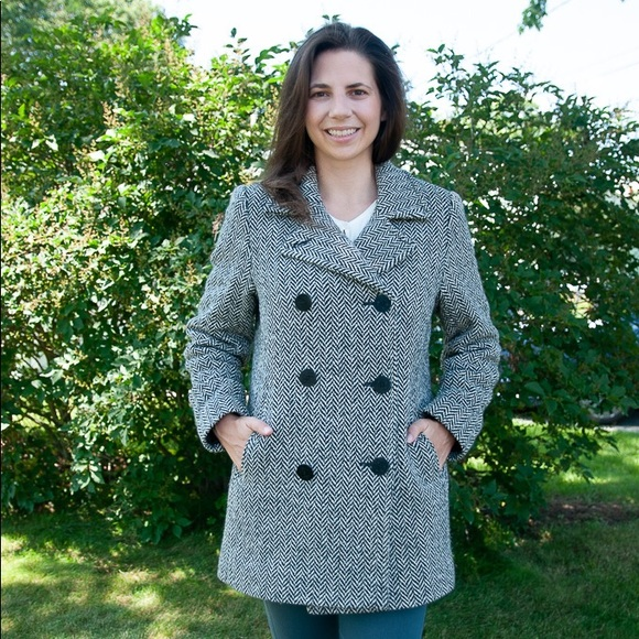 L.L. Bean Jackets & Blazers - LL Bean Black and White Houndstooth Peacoat Jacket